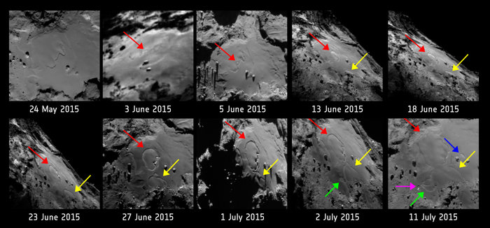 Annotated version of the sequence of ten images showing changes in the Imhotep region on Comet 67P/Chruymov-Gerasimenko. The images were taken with the OSIRIS narrow-angle camera on Rosetta between 24 May and 11 July 2015.