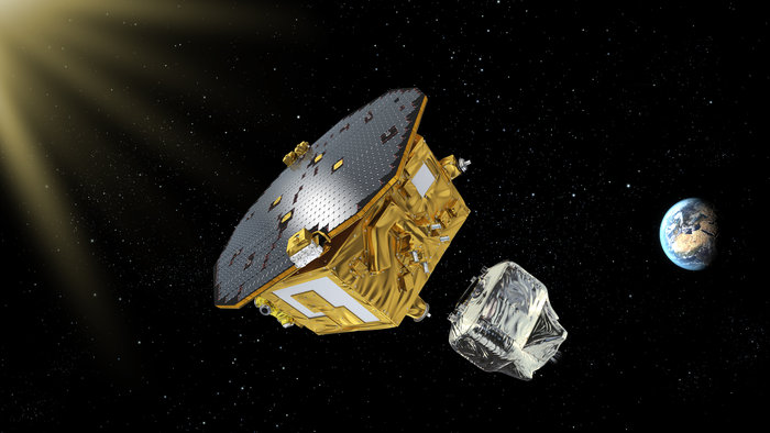 LISA Pathfinder, ESA's mission to test technology for future gravitational-wave observatories in space, depicted after the separation of the propulsion module.