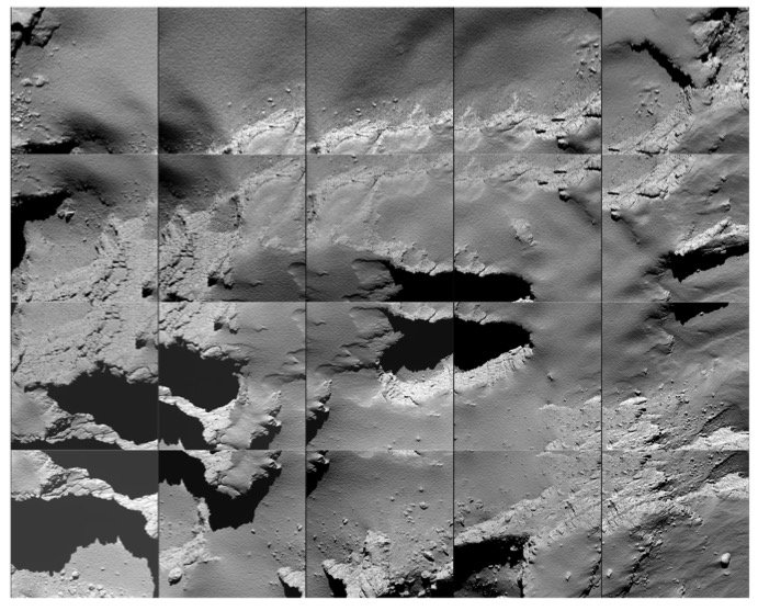 Title Comet landing site Released 30/09/2016 1:10 pm Copyright ESA/Rosetta/MPS for OSIRIS Team MPS/UPD/LAM/IAA/SSO/INTA/UPM/DASP/IDA Description: Sequence of images captured by Rosetta during its descent to the surface of Comet 67P/C-G on 30 September.