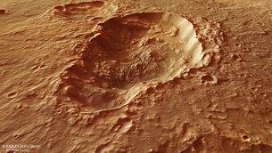 Vista en perspectiva de un cráter tripe