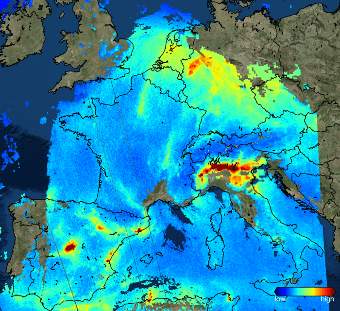 Nitrogen Dioxide Over Europe (November 2017)