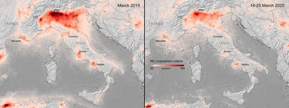 Concentrações de dióxido de azoto na Itália. Concentrações médias de dióxido de azoto de 14 a 25 de março de 2020, em comparação com a média mensal de concentrações de 2019.