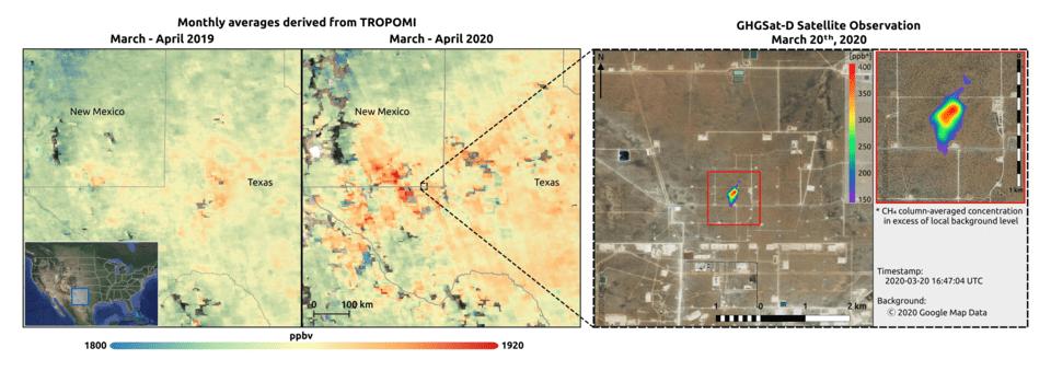 Concentrações de metano na bacia do Permiano