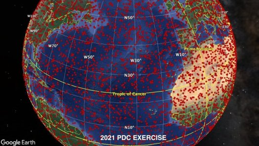 Potential impact hemisphere for 2021 PDC