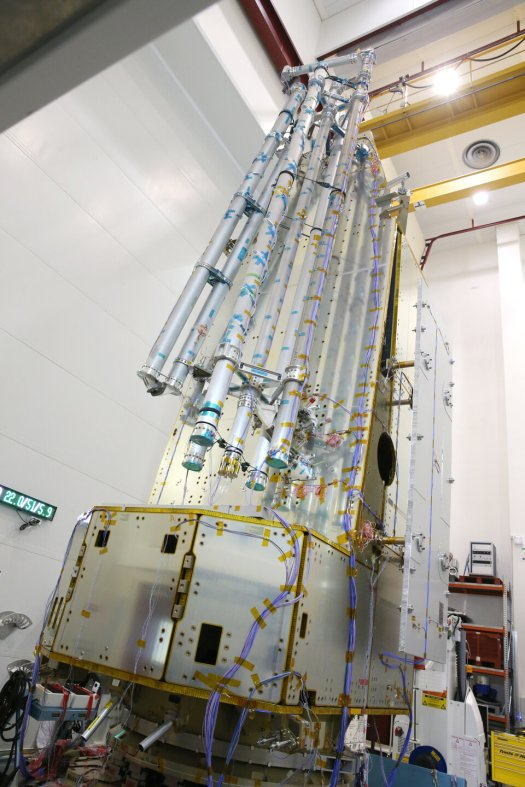 Biomass satellite structure being tested