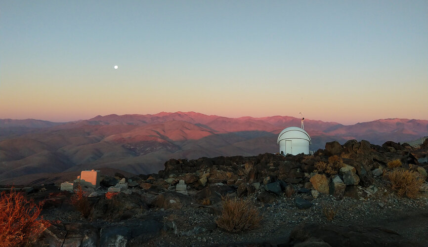 ESA's Test-Bed Telescope 2 at sunset at ESO's La Silla Observatory in Chile