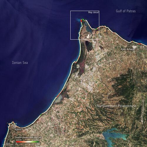 Peloponnese coastline changes