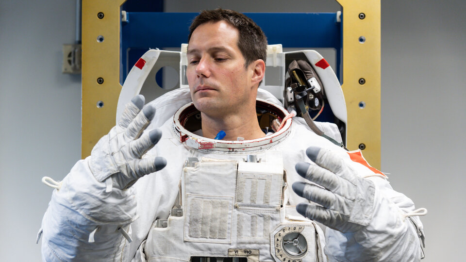 Trying on a spacesuit