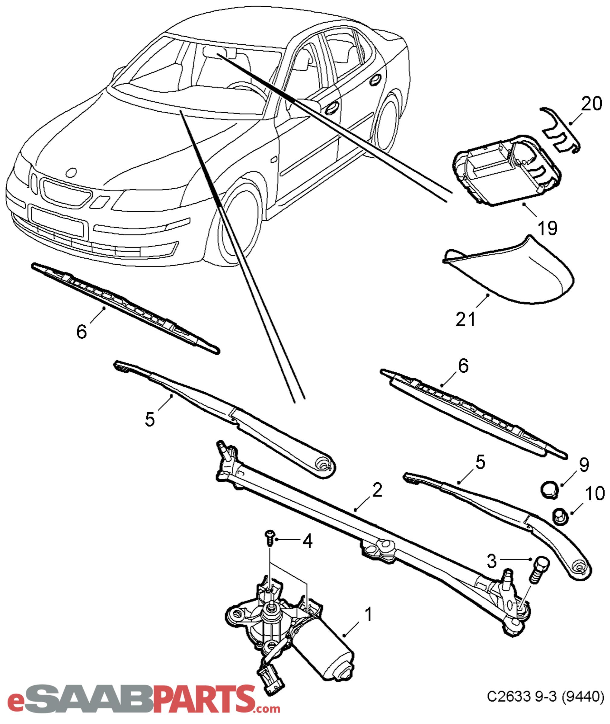 [12778383] SAAB Wiper Blade Kit, LH and RH Side, 08-12