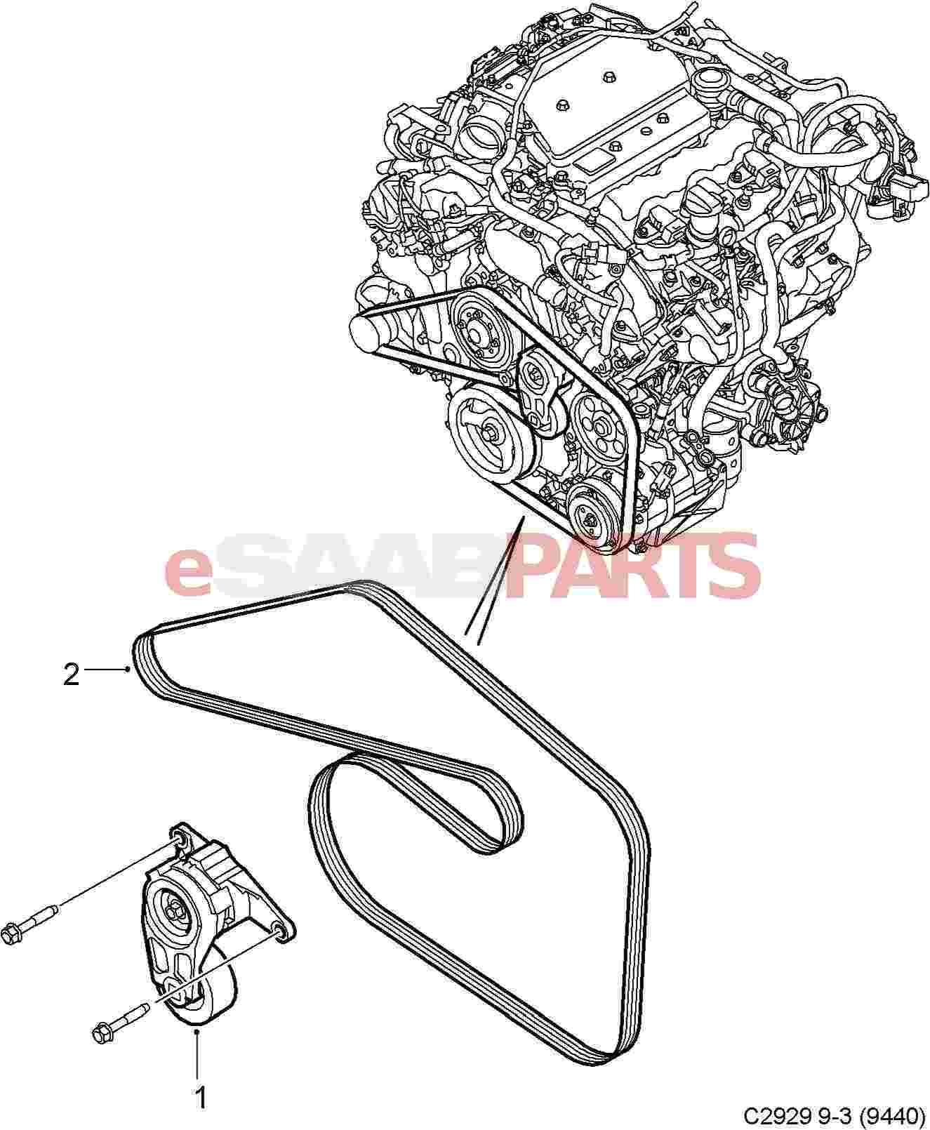 Saab Serpentine Belt 2 8t V6 9 3