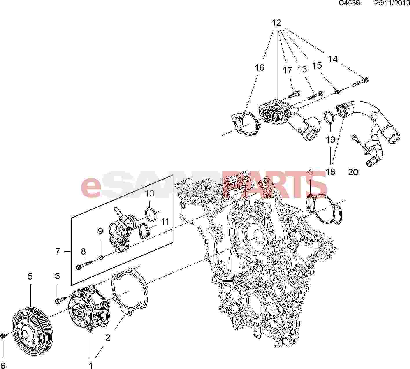 Saab Thermostat Housing Assembly 2 8t