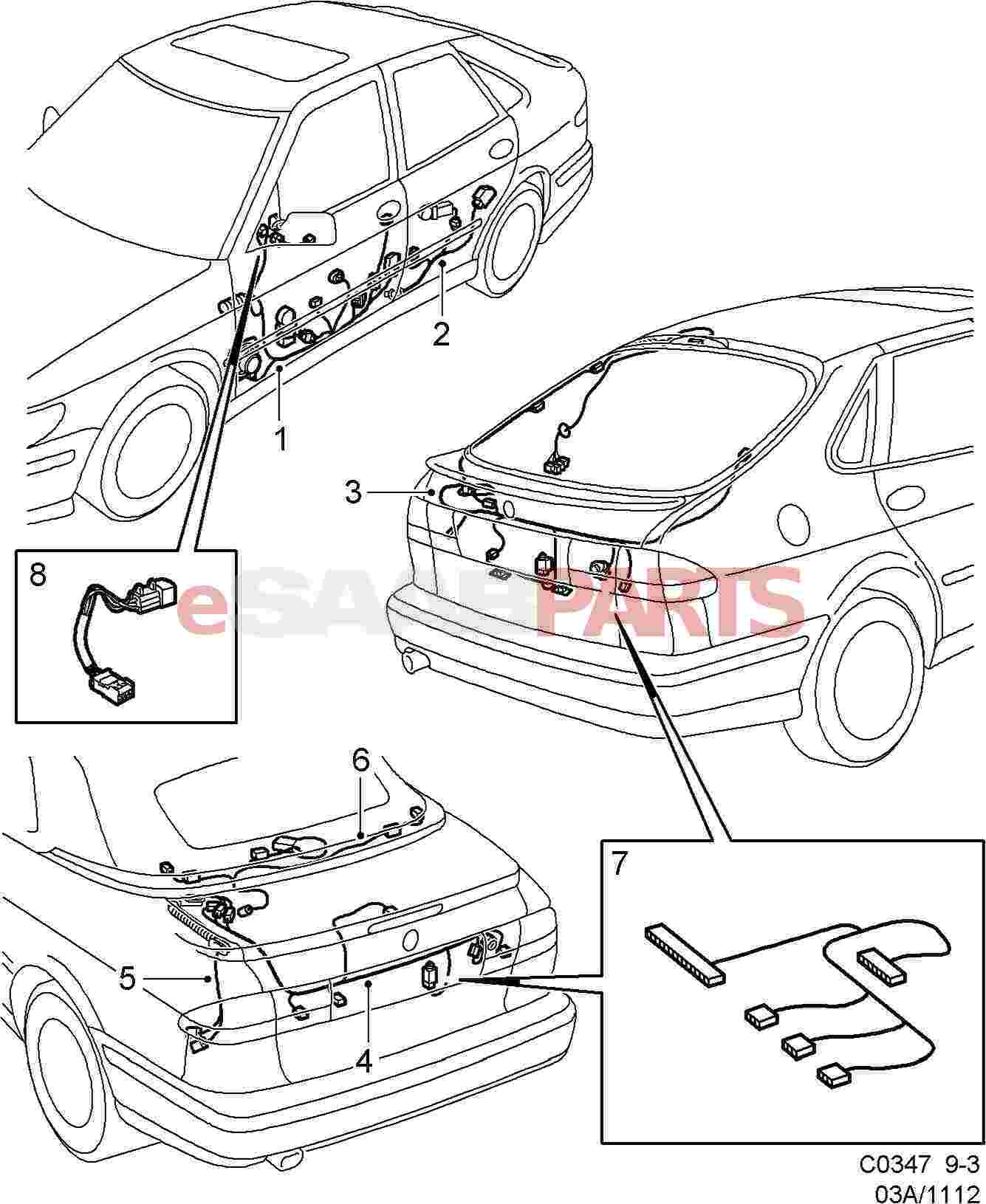 hight resolution of esaabparts com saab 9 3 9400 electrical parts wiring