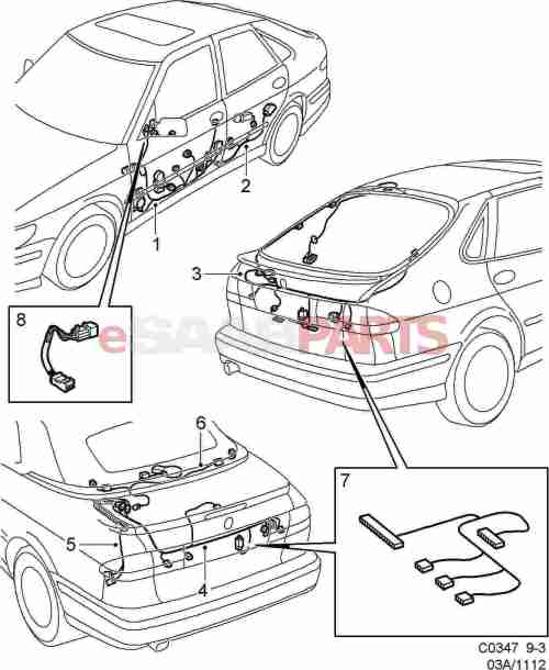 small resolution of esaabparts com saab 9 3 9400 electrical parts wiring