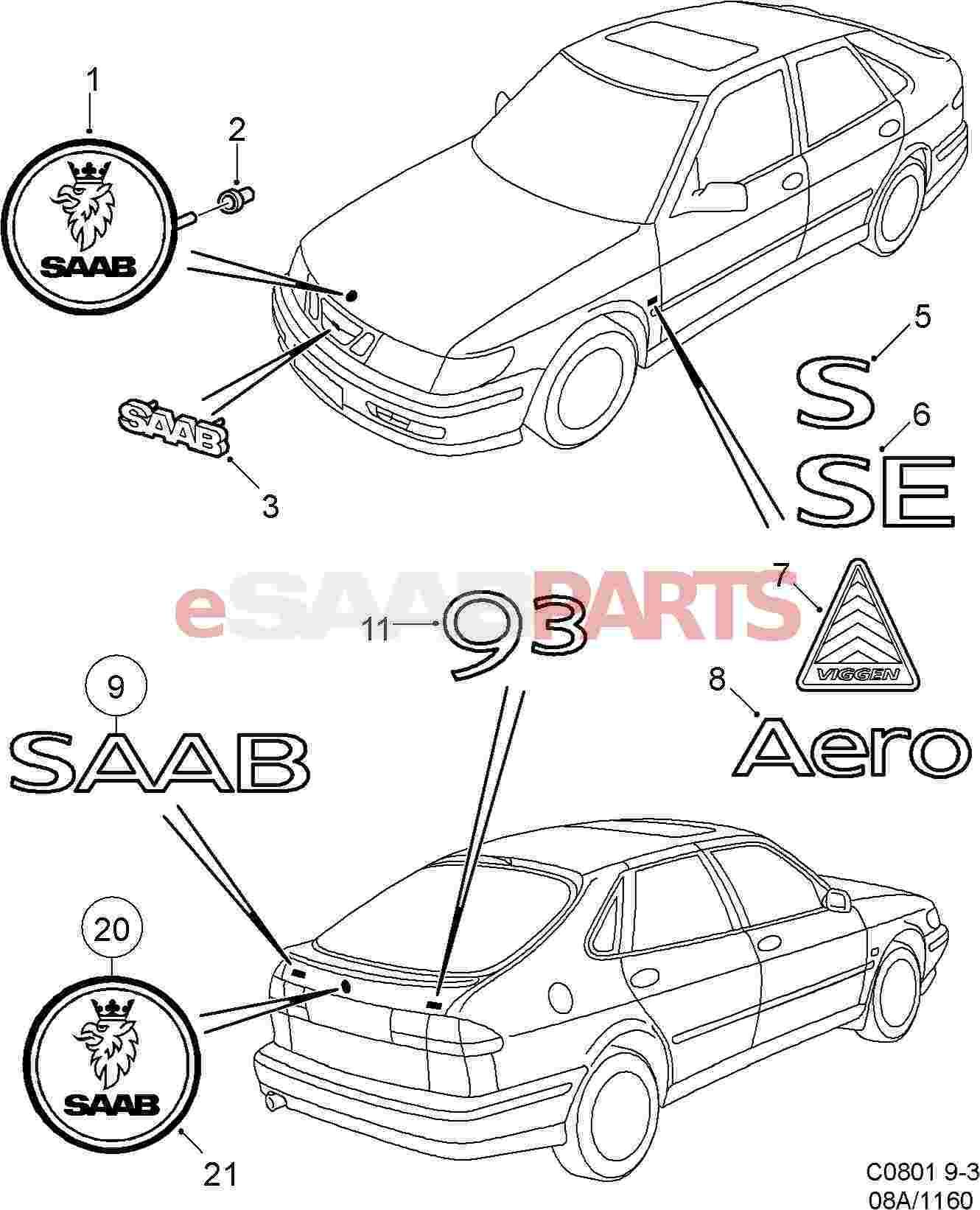 Saab Hood Emblem 9 3 Og Saab