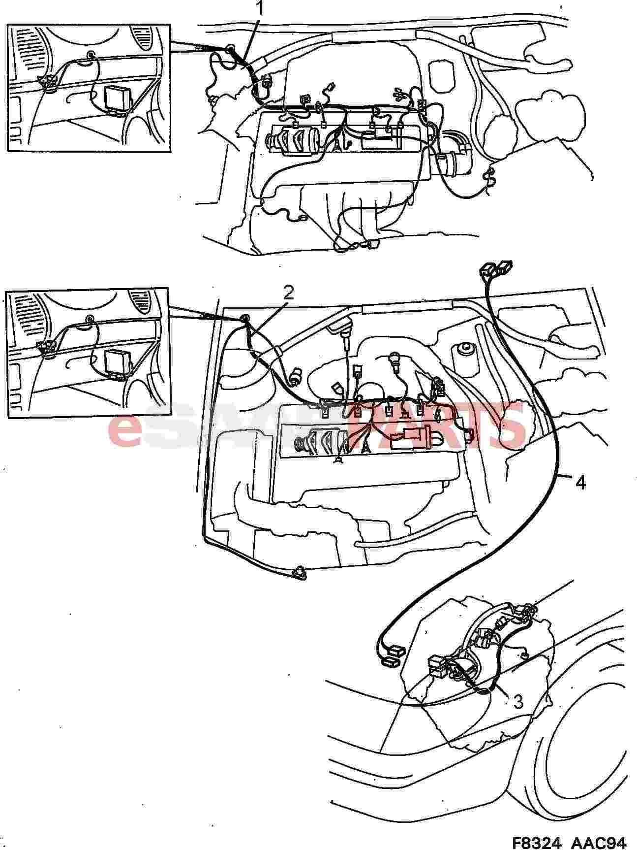 hight resolution of esaabparts com saab 900 electrical parts wiring harness motor transmission