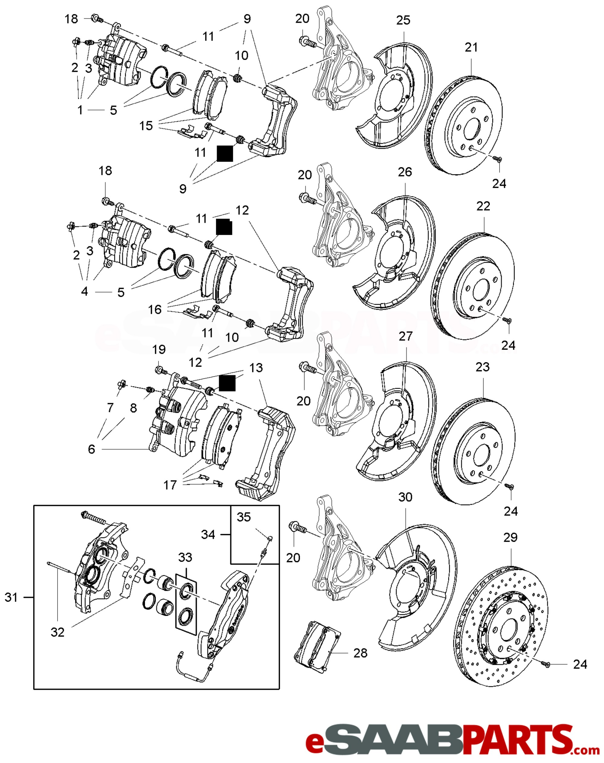 hight resolution of esaabparts com saab 9 5 650 brakes parts brake disc calipers pads front brake disc caliper and pads