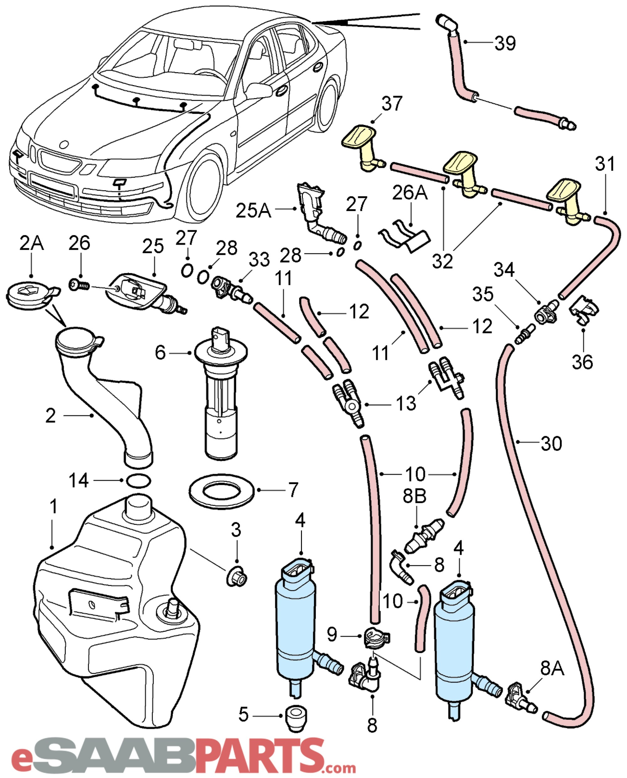 hight resolution of esaabparts com saab 9 3 9440 electrical parts wiper washer system washer system windshield headlights