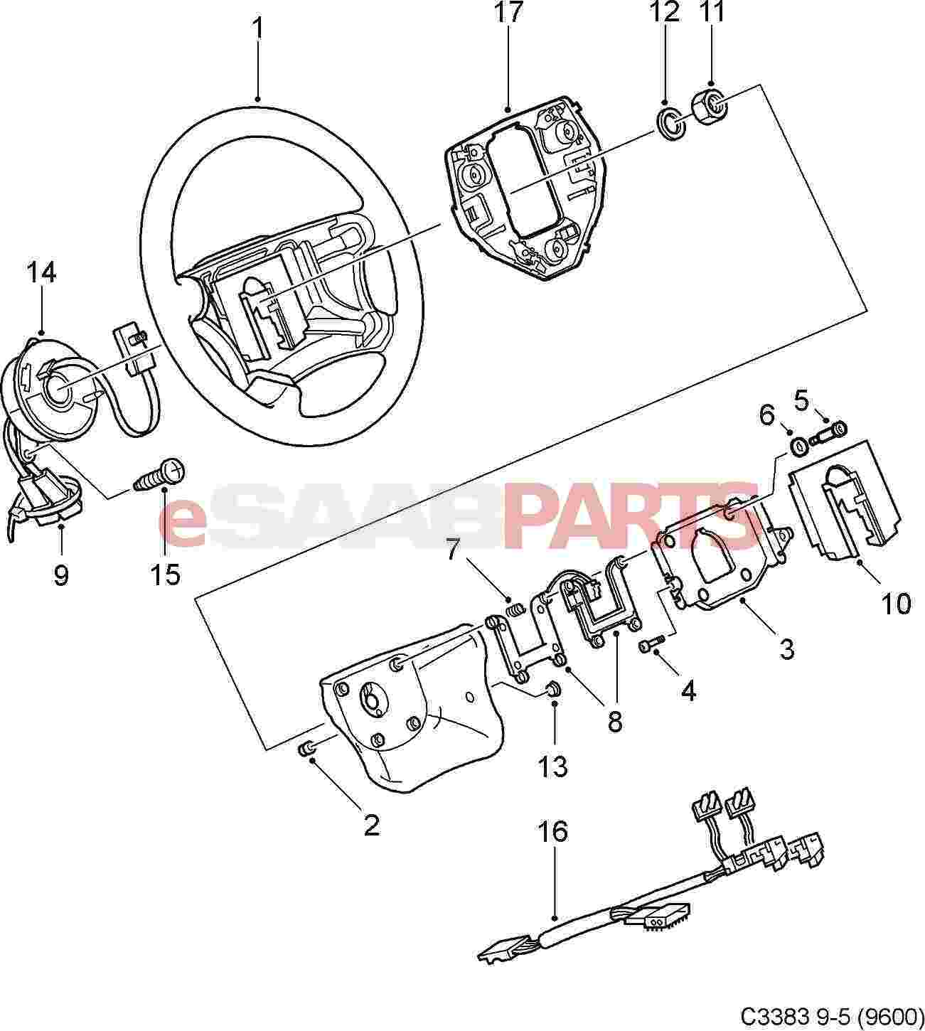 steering wheel parts diagram and there labeled microscope for what 12758902 saab leather 9 5 aero