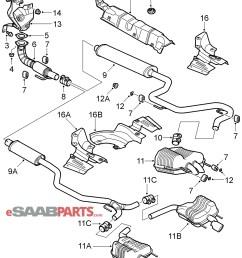 esaabparts com saab 9 3 9440 u003e engine parts u003e exhaust systemesaabparts [ 2042 x 2449 Pixel ]
