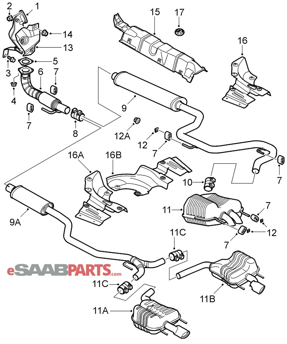 medium resolution of esaabparts com saab 9 3 9440 engine parts exhaust system exhaust muffler b207