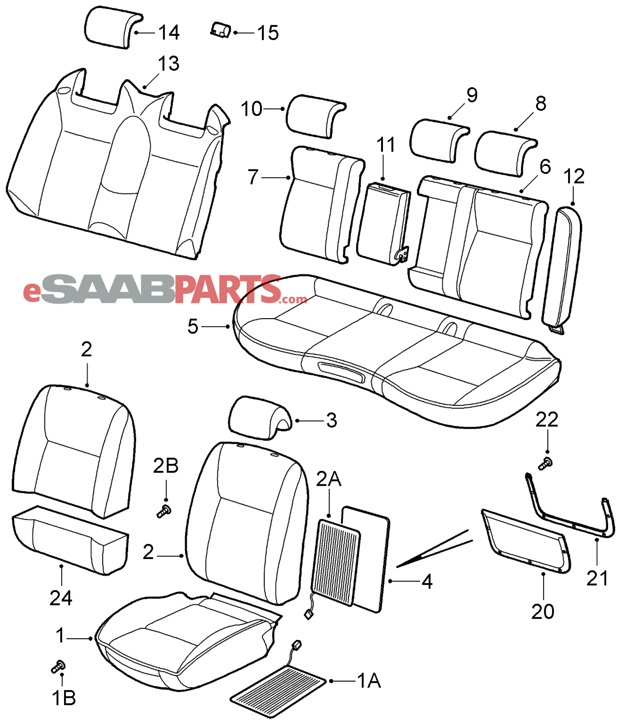 [12764413] SAAB B43 Seat Cover, Front Bottom LH (Driver