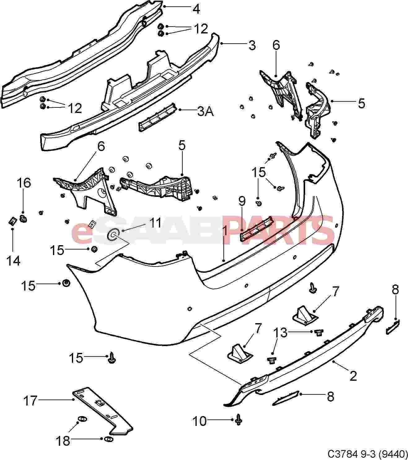 [12769770] SAAB Aero Rear Diffuser Spoiler (w/ Dual