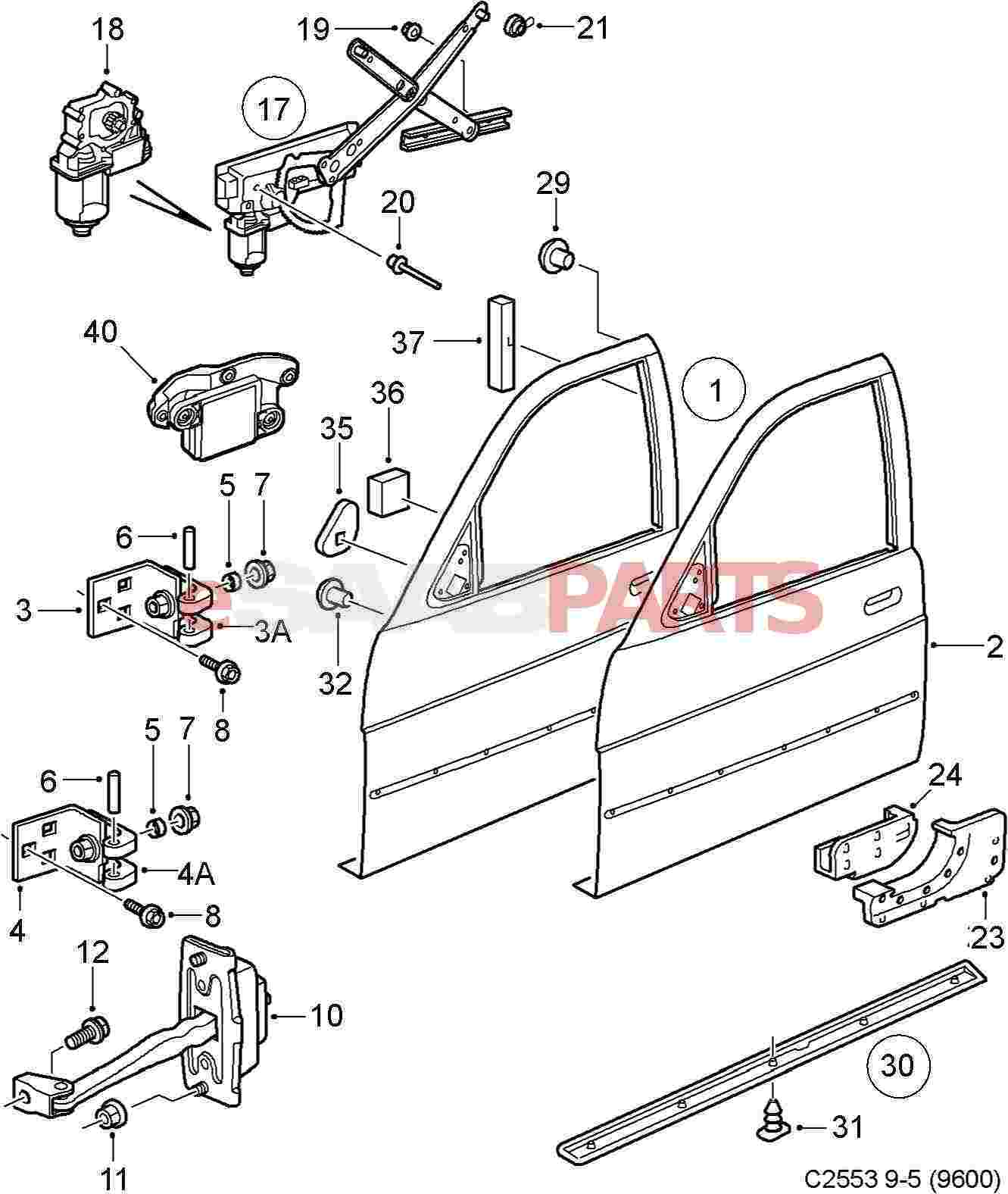 3 Rear Window Regulator Saab Window Regulator