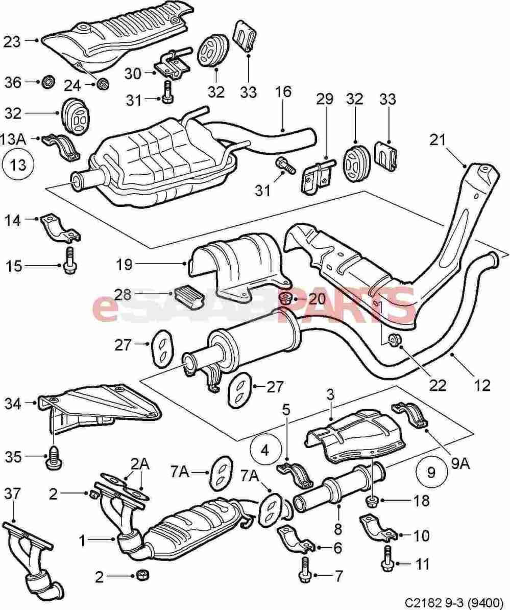 medium resolution of esaabparts com saab 9 3 9400 engine parts exhaust exhaust system