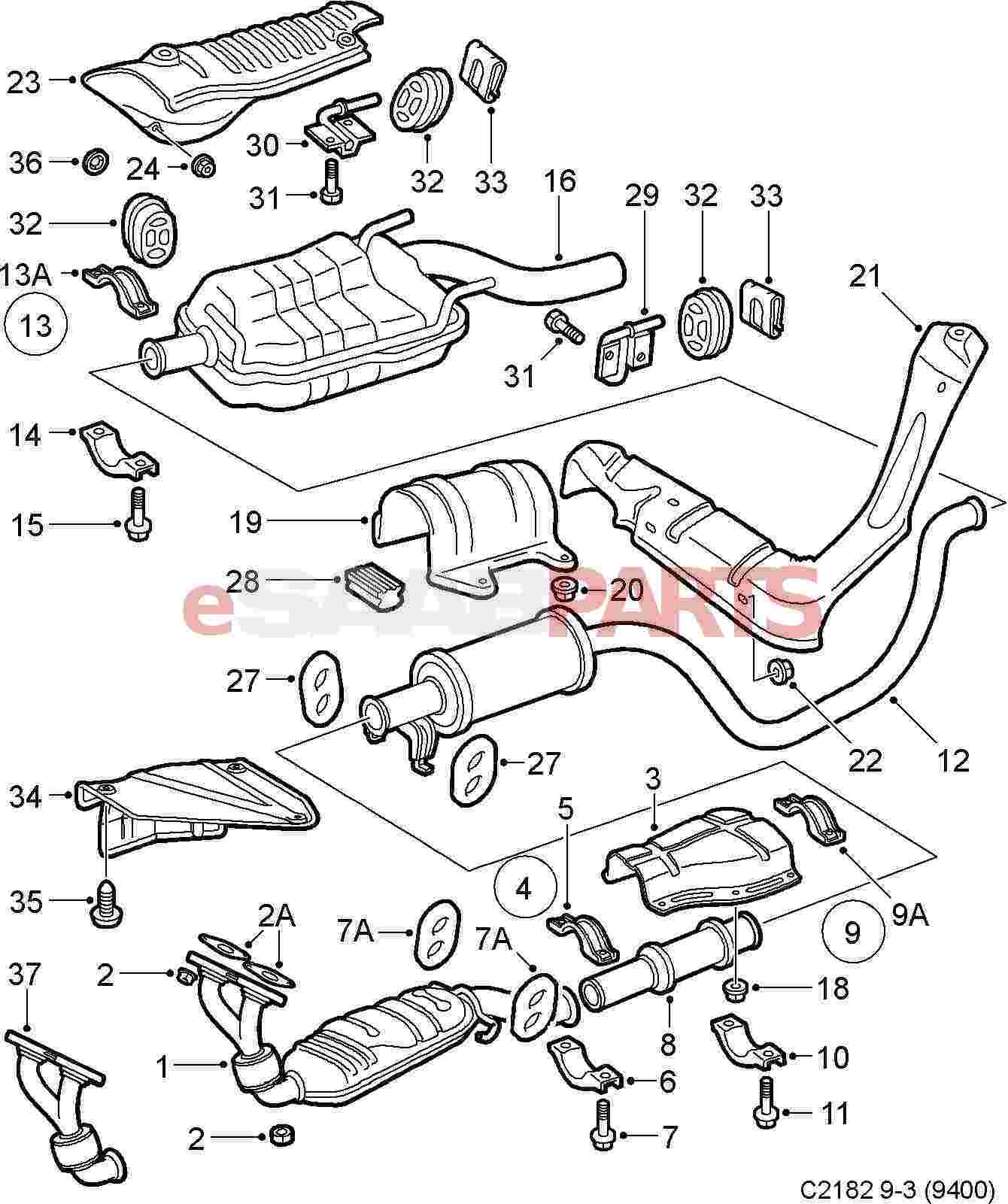 hight resolution of esaabparts com saab 9 3 9400 engine parts exhaust exhaust system