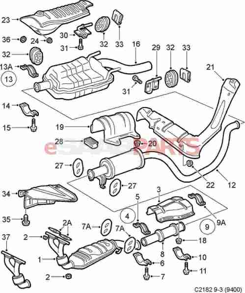 small resolution of esaabparts com saab 9 3 9400 engine parts exhaust exhaust system
