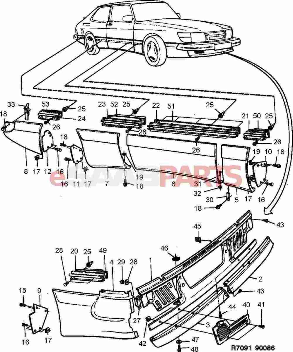 medium resolution of esaabparts com saab 900 car body external parts body mouldings external aero kit spg