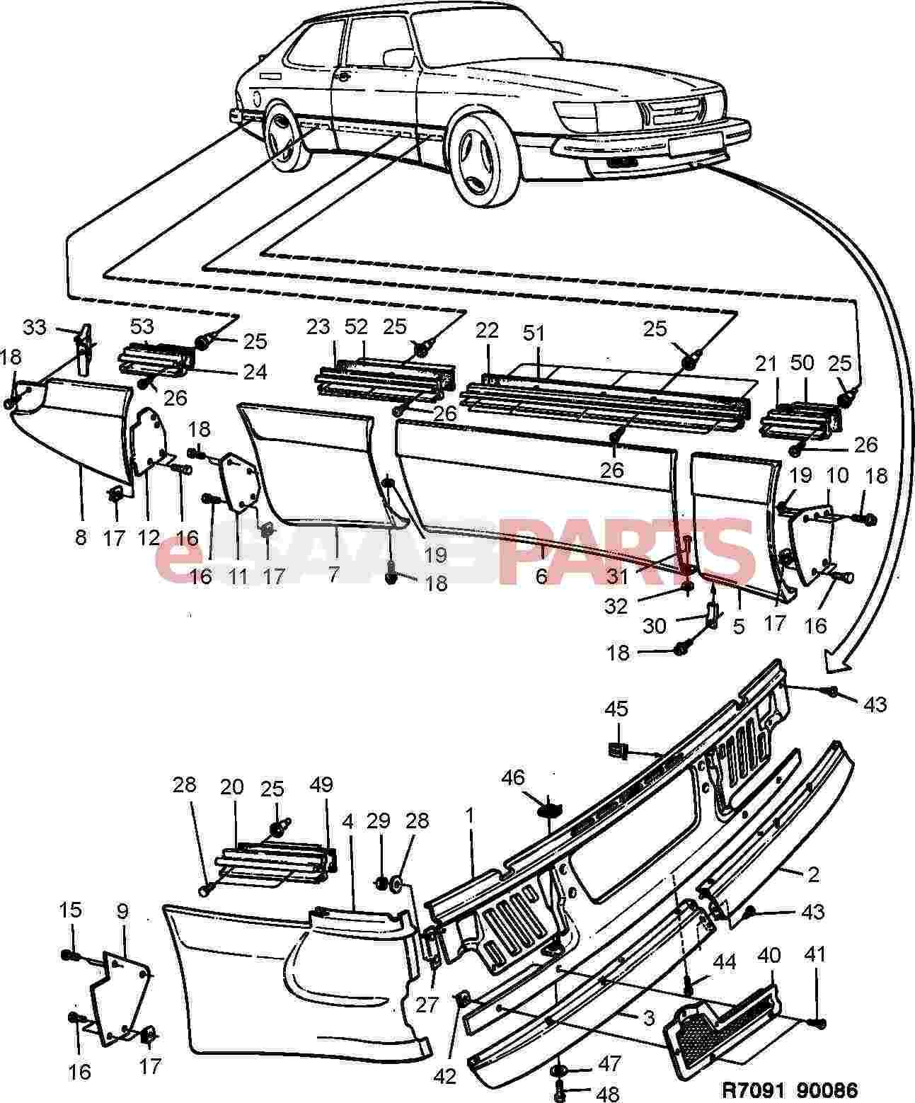 hight resolution of esaabparts com saab 900 car body external parts body mouldings external aero kit spg