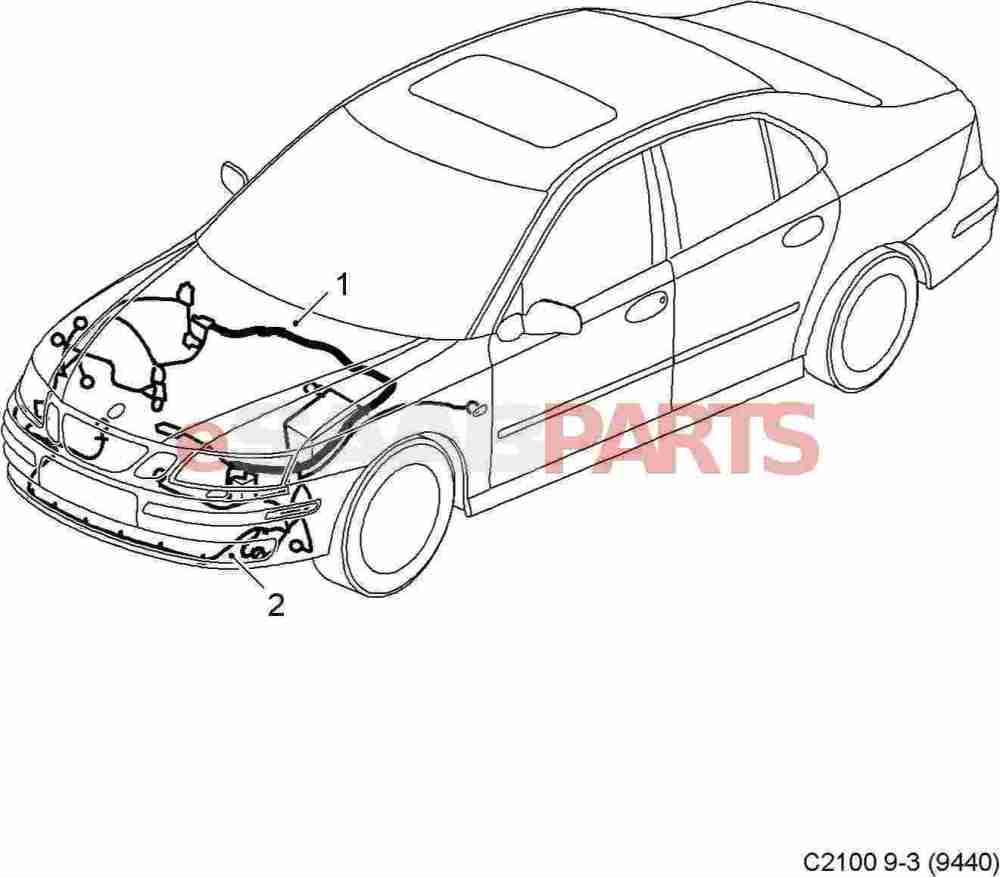 medium resolution of esaabparts com saab 9 3 9440 electrical parts wiring harness front bumper front