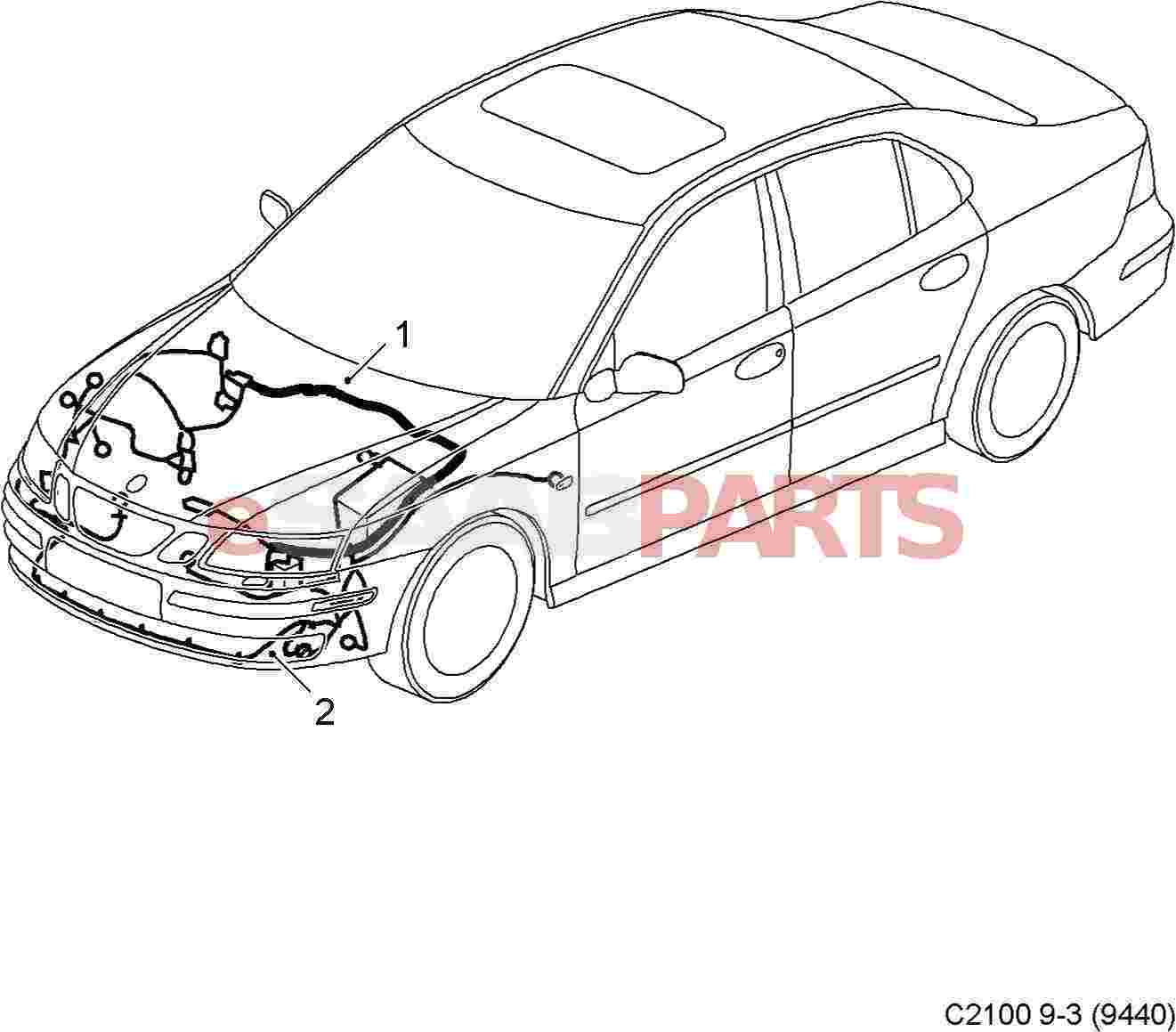 hight resolution of esaabparts com saab 9 3 9440 electrical parts wiring harness front bumper front