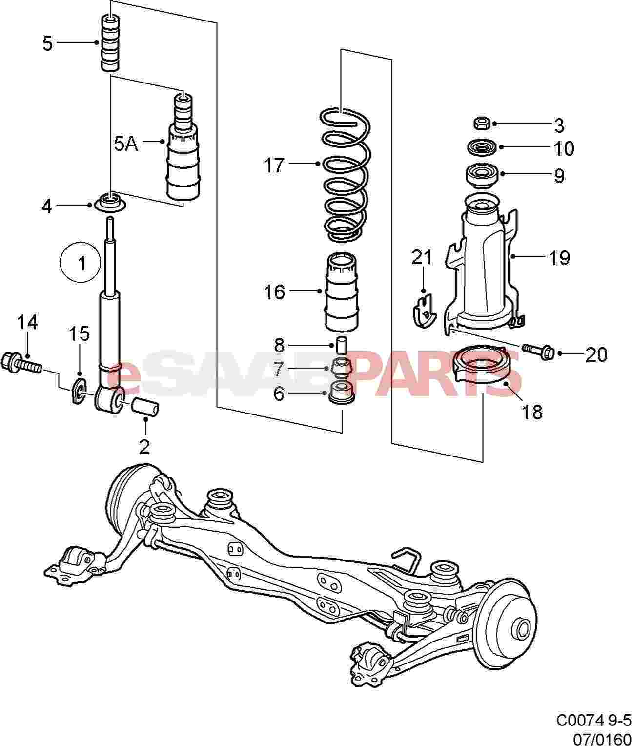 hight resolution of saab 9 5 rear suspension diagram