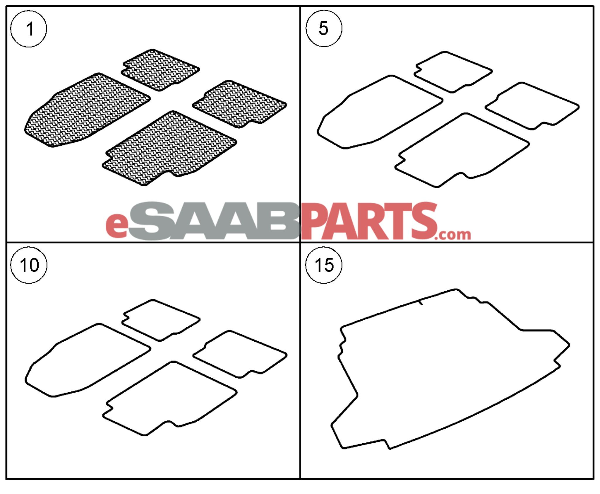 [32026015] SAAB SAAB Rubber All-Season Floor Mat Set (2008