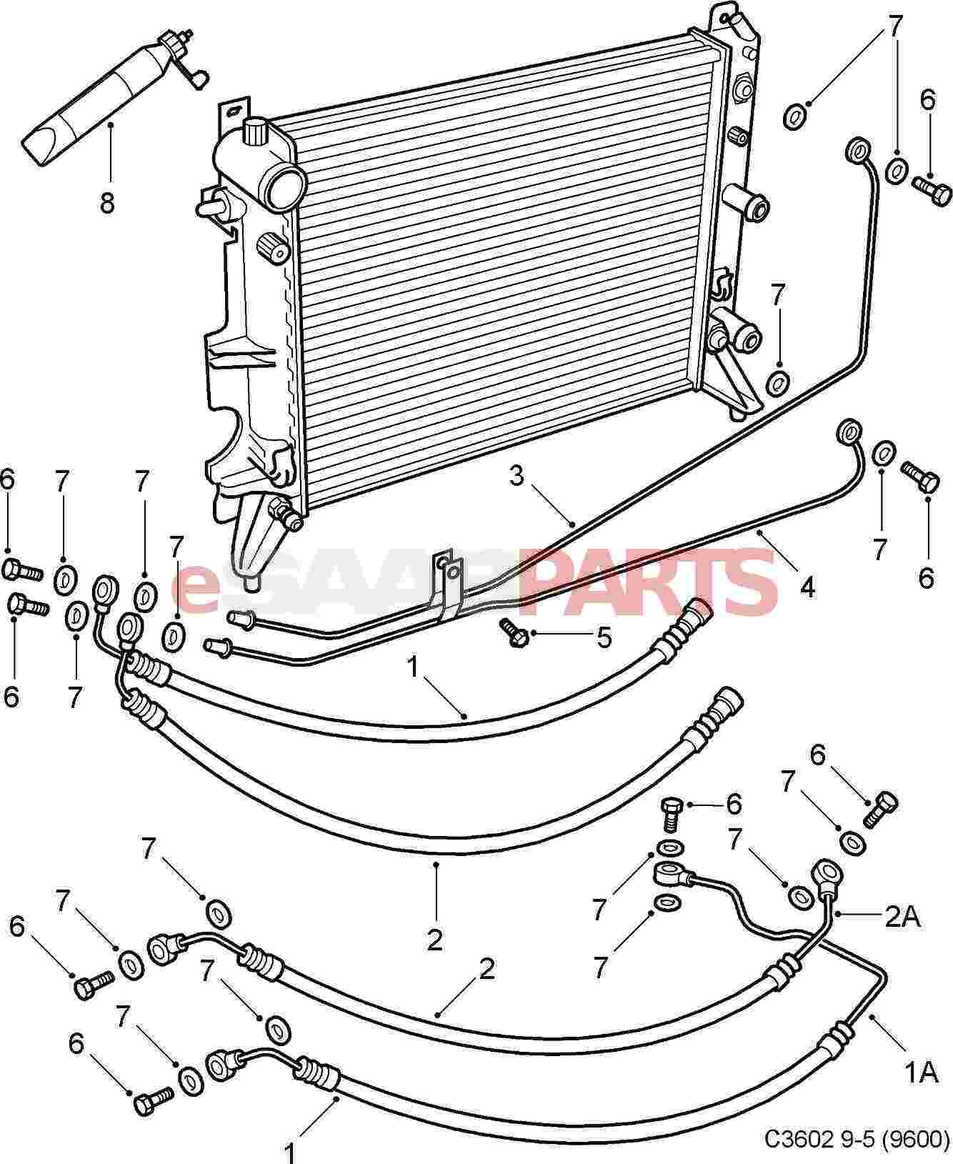 hight resolution of esaabparts com saab 9 5 9600 transmission parts transmission automatic oil cooler at
