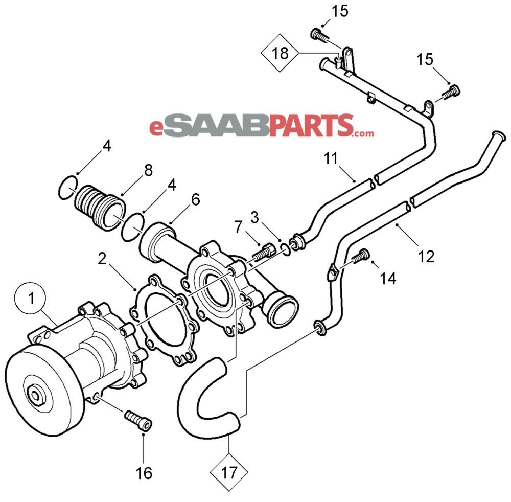 medium resolution of esaabparts com saab 9 5 9600 engine parts water pump water pump coolant b205 b235