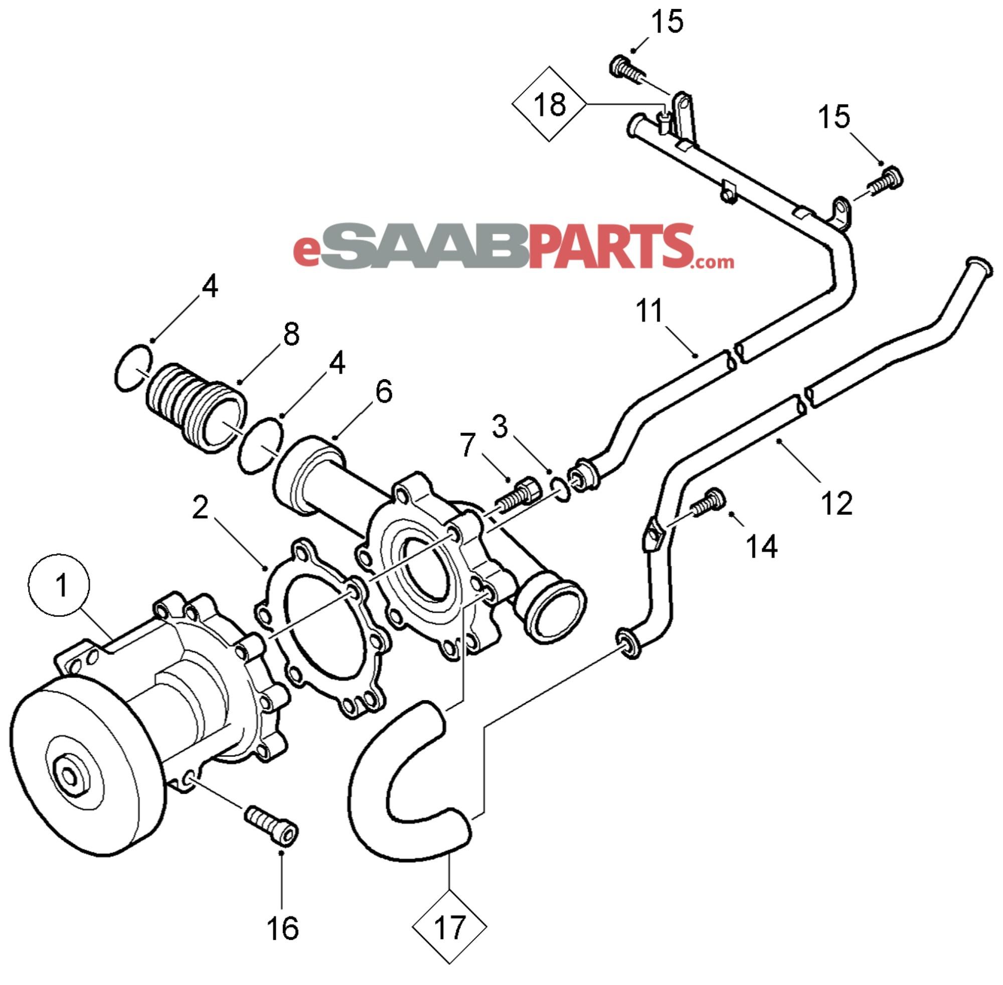 hight resolution of esaabparts com saab 9 5 9600 engine parts water pump water pump coolant b205 b235