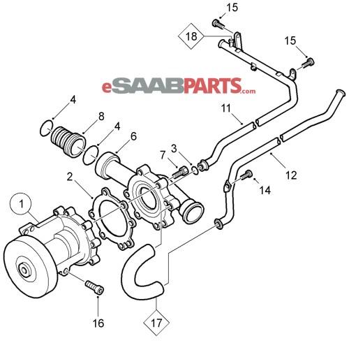 small resolution of esaabparts com saab 9 5 9600 engine parts water pump water pump coolant b205 b235