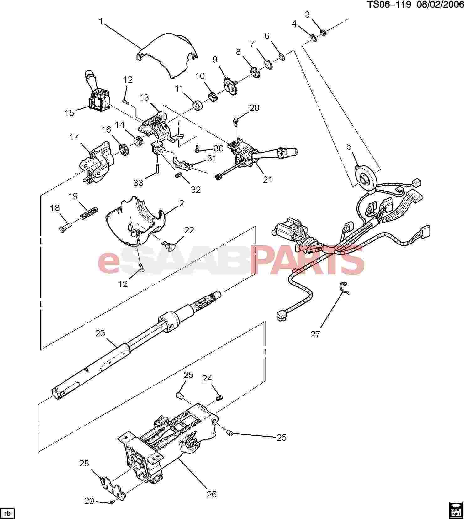 Saab Lever Steering Column Tilt Wheel Release