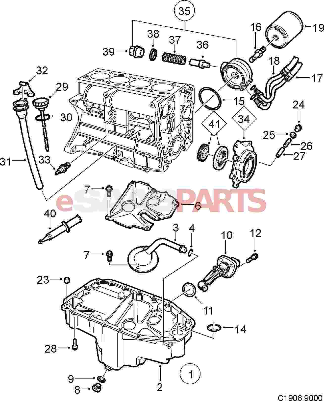 Saab Oil Filter L V X Genuine Parts 4 2l Engine Diagram
