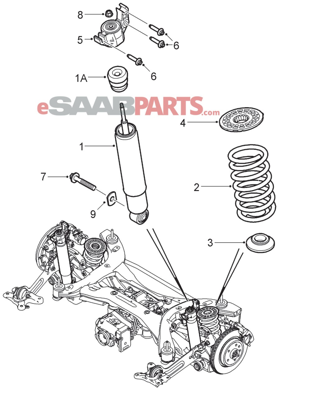 medium resolution of esaabparts com saab 9 3 9440 suspension wheels parts rear suspension rear suspension xwd