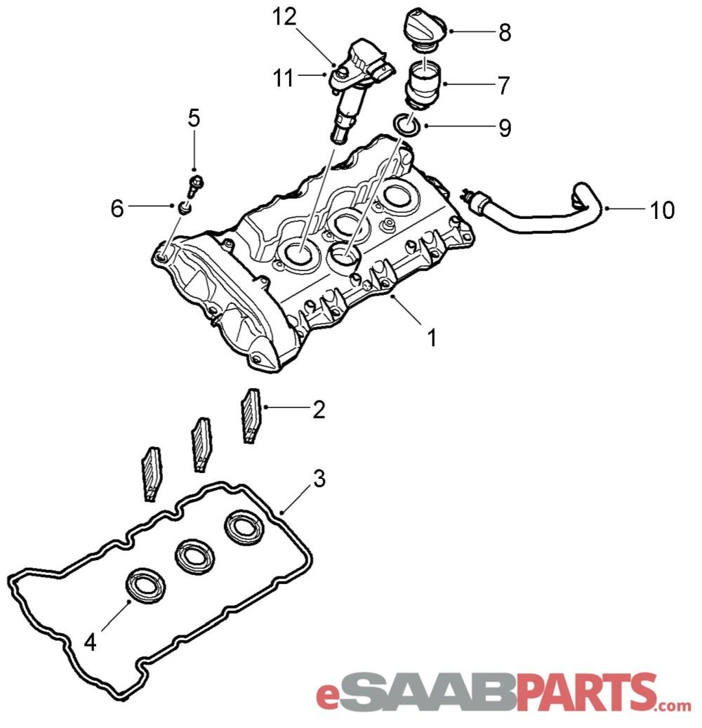 medium resolution of esaabparts com saab 9 3 9440 engine parts valve cover valve cover 2 8l b284