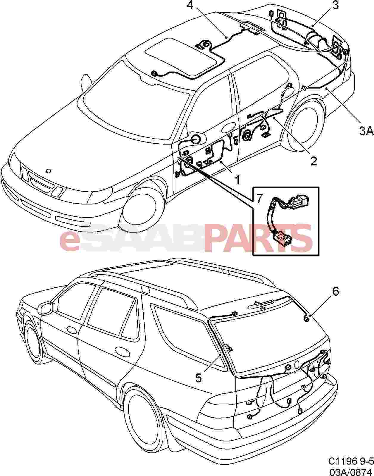 hight resolution of esaabparts com saab 9 5 9600 electrical parts wiring
