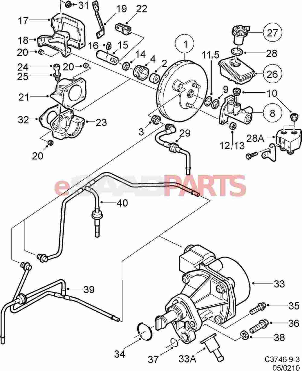 medium resolution of esaabparts com saab 9 3 9400 u003e brakes parts u003e brake vacuumesaabparts