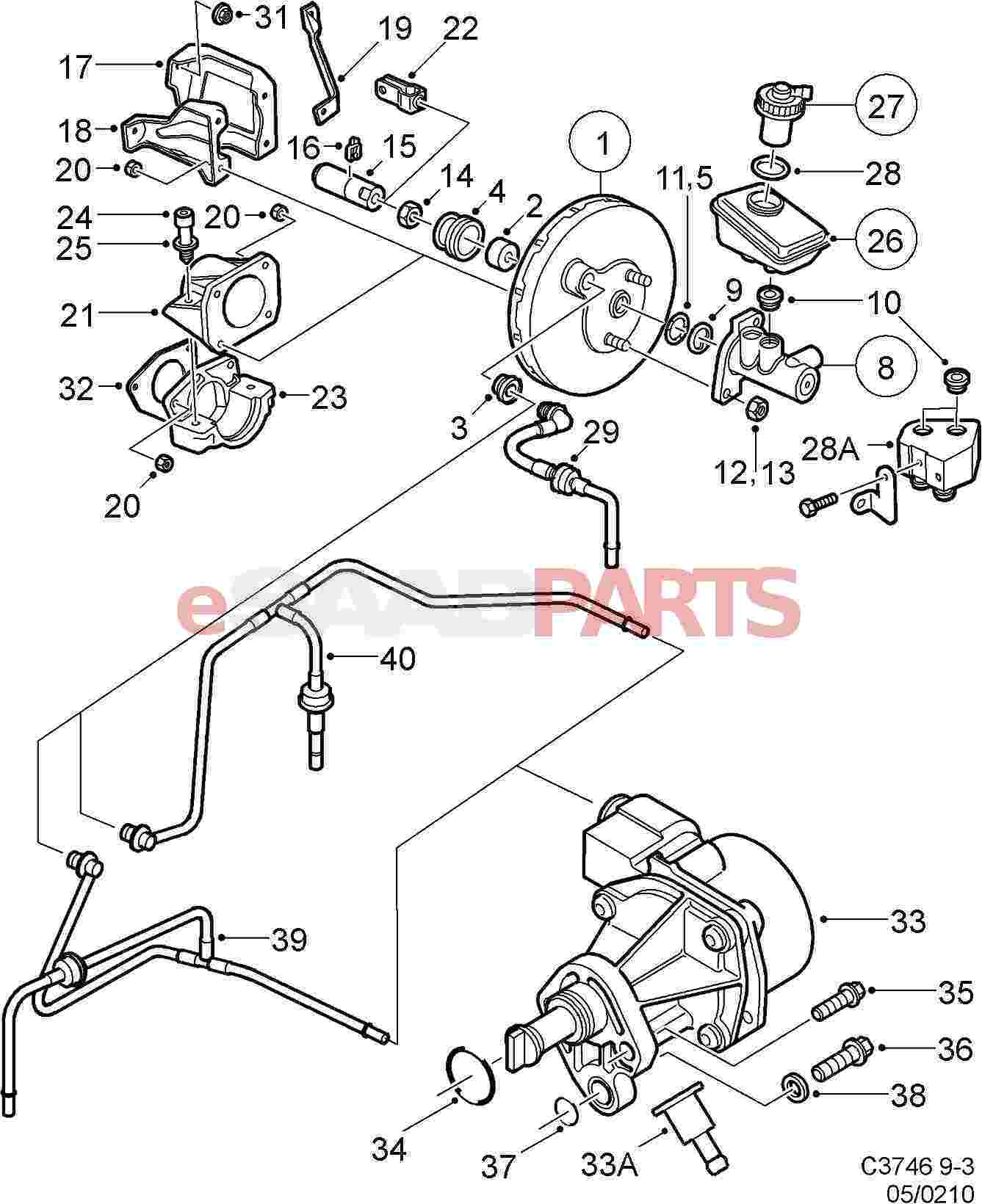 hight resolution of esaabparts com saab 9 3 9400 u003e brakes parts u003e brake vacuumesaabparts