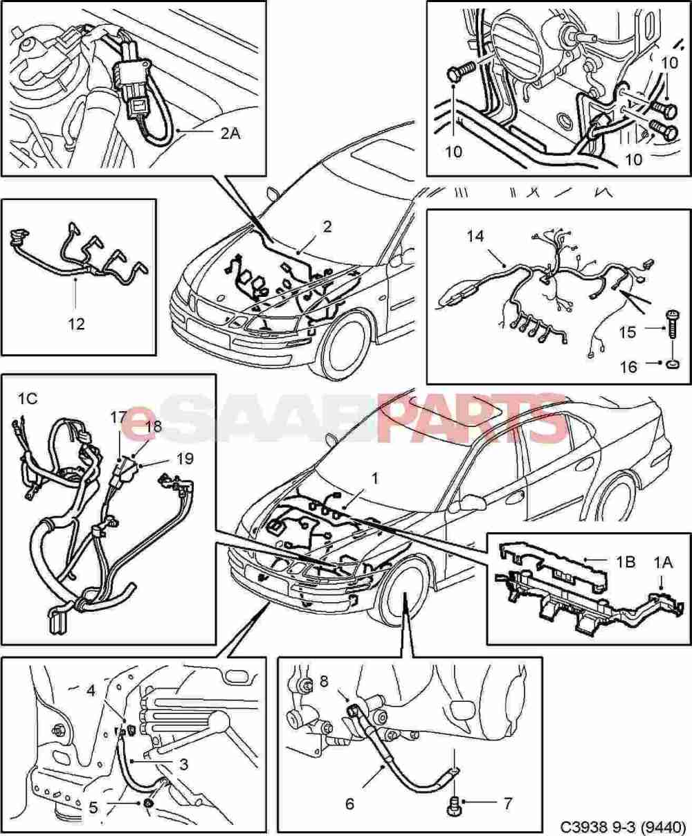 medium resolution of esaabparts com saab 9 3 9440 electrical parts wiring harness engine transmission motor transmission