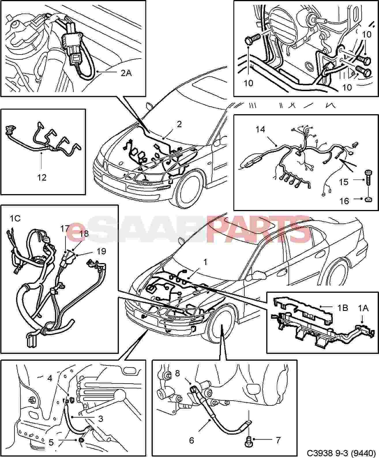 hight resolution of esaabparts com saab 9 3 9440 electrical parts wiring harness engine transmission motor transmission