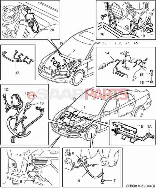 small resolution of esaabparts com saab 9 3 9440 electrical parts wiring harness engine transmission motor transmission